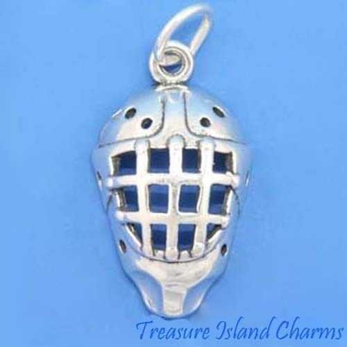 Goalie Mask Art - Ice Hockey Goalie Mask Helmet 3D 925 Solid Sterling Silver Charm Pendant Crafting Key Chain Bracelet Necklace Jewelry Accessories Pendants