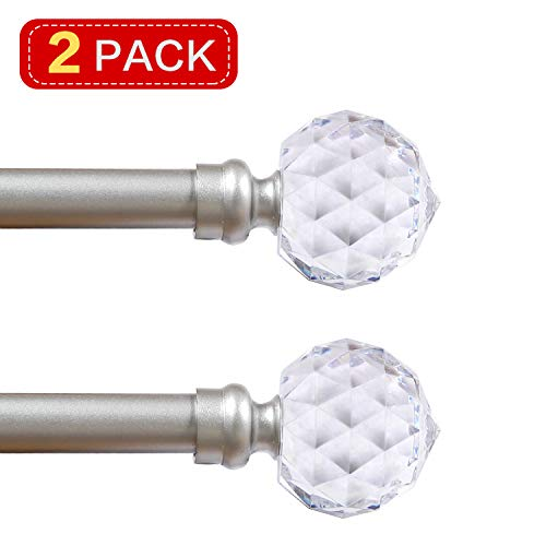 Turquoize Crystal Ball Finial Window Curtain Rod Set 66 Inch Extends to 120-Inch with Window Treatment Hardware, Faceted Crystal 3/4 - Inch Diamter Drapery Rod Set, 2 Pack, Nickel (Hardware Window Treatments)