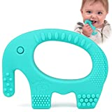 Baby Teething Toys - Adorable Turquoise Silicone Elephant Teether BPA Free - Best for Girl Or Boy Infant Newborn 3 6 12 Months / 1 Year Old Cool Sensory Learning Baby Shower and Easter Gifts