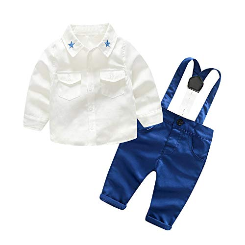 2018 Fashion New Baby Kids Boys Gentleman Outfits Set Solid Shirt Suspenders Strap Pants Photography Props Custom Clothes Set Zulmaliu (White,0-6 Months) ()