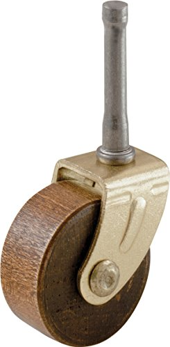 Shepherd Hardware 9051 1-5/8-Inch Designer Stem Casters, Wood Wheel, 5/16-Inch Stem Diameter, Brown, 2-Pack