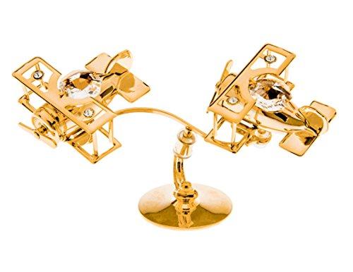 Twin Biplanes 24k Gold Plated Figurine with Swarovski Crystals ()