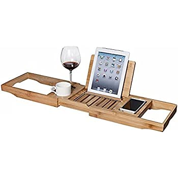 Amazon.com: WELLAND Bathtub Caddy Tray with Extending Sides, Bamboo ...
