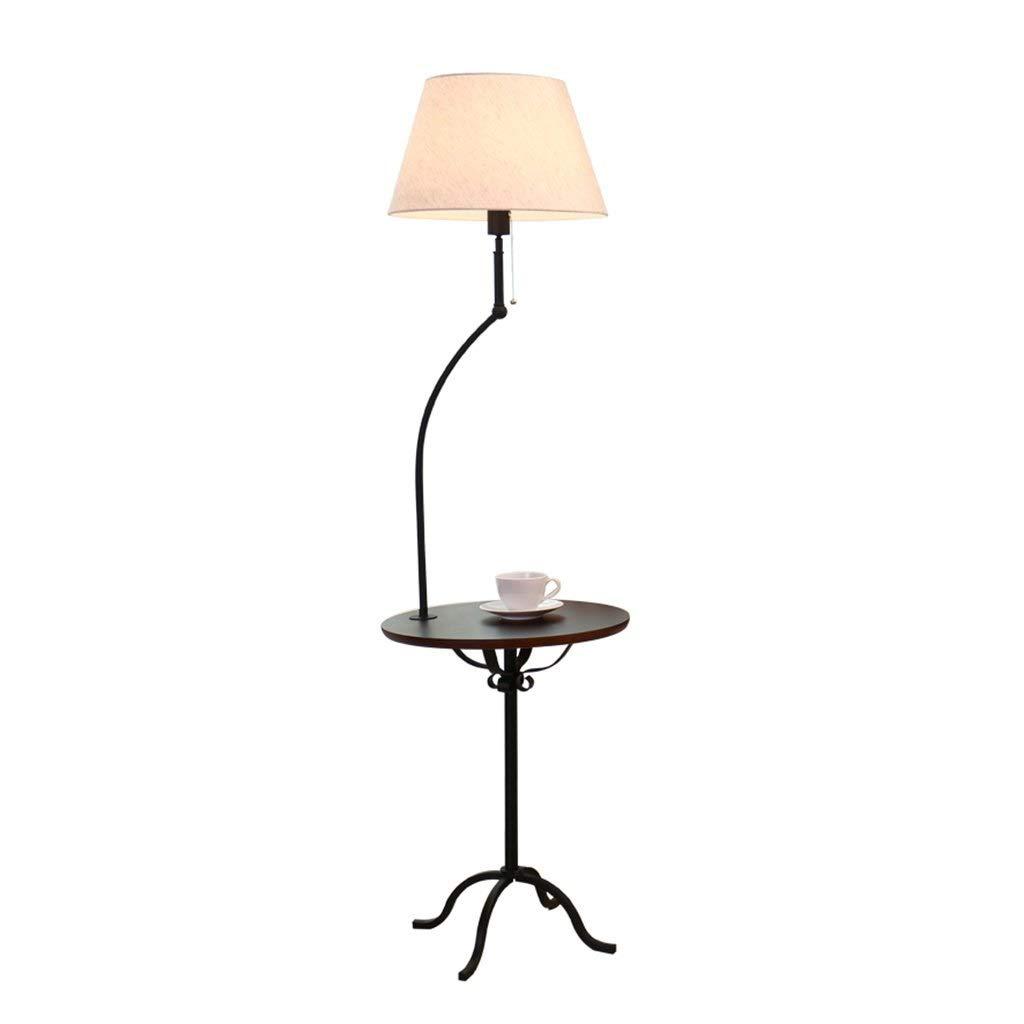 フロアランプリビングルームパーソナリティ棚ソファコーヒーテーブルランプ寝室のベッドサイドウッドアイアンフロアランプ (色 : ブラッククルミ色) B07QQTPPRY ブラッククルミ色