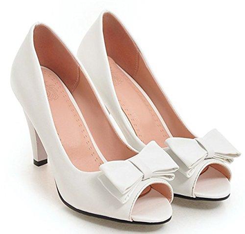 Blanc Toe Femme Tire Escarpins D'Eté Chaussure Peep Elégant Easemax qTZngCwg4