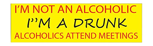 10in x 3in Large Funny Auto Decal Bumper Sticker I'M Not an Alcoholic I'M A Drunk Alcoholics Go To Mettings Joke (Alcoholic)