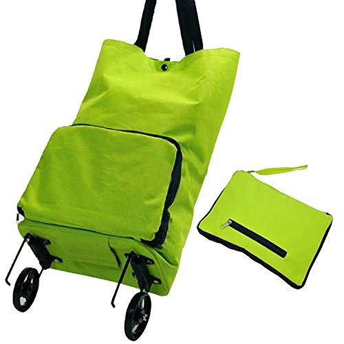 Folding Shopper - Folding Shopping Bag, Grocery Cart, Foldable Wheels Rolling Wheeled Shopping Cart with Hand-straps for Daily Use