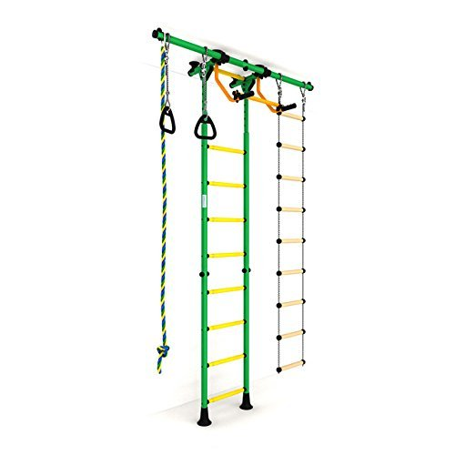 Indoor Kids Playground Play Set / Green Training Gym Sport Set with Accessories Equipment: Climber, Rope ladder, Rope and Gymnastic Rings / Suit for Apartment, School and Playroom / Carousel R55