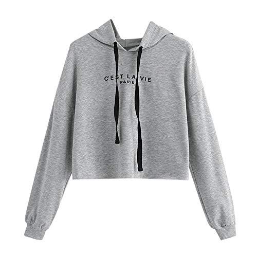 XOWRTE Women's Sweatshirt Solid Hooded Hoodie Fall Winter Pullover Tops
