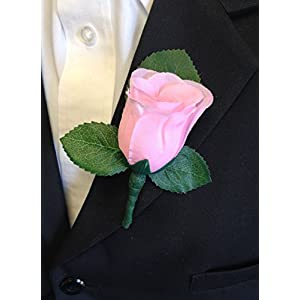 Baby Pink Rose Boutonniere with Pin for Prom, Party, Wedding 59
