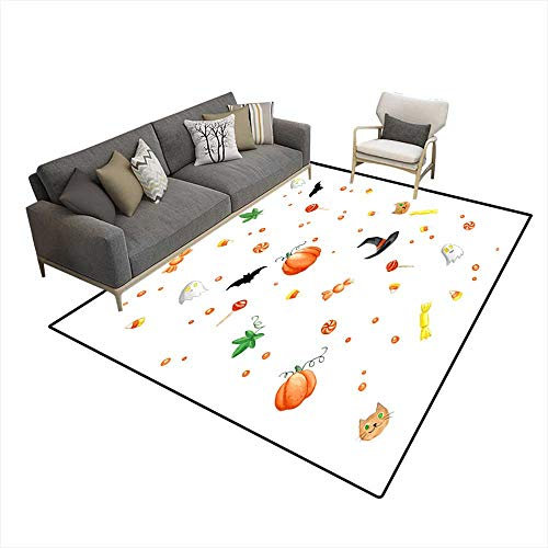 Extra Large Area Rug Watercolor Painting Halloween Pattern 6'x8' (W180cm x L240cm -