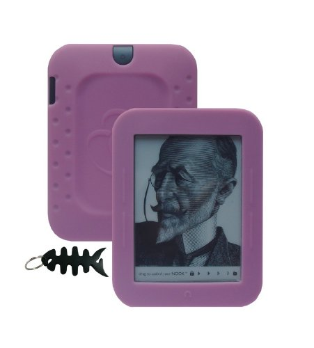 iShoppingdeals - for Barnes & Noble NOOK Simple Touch Reader Wi-Fi 2nd Generation (BNRV300) Soft Silicone Cover Case Skin, Pink (Nook Simple Touch Case)