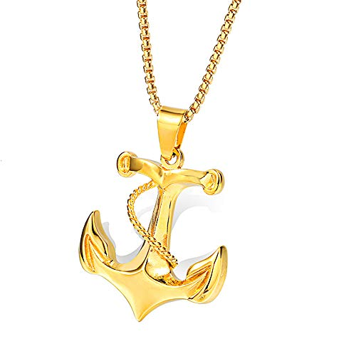 Onepine Stainless Steel Men Necklace Vintage Nautical Pirate Pendant Chain Nautical Anchor Pendant Necklace, 24