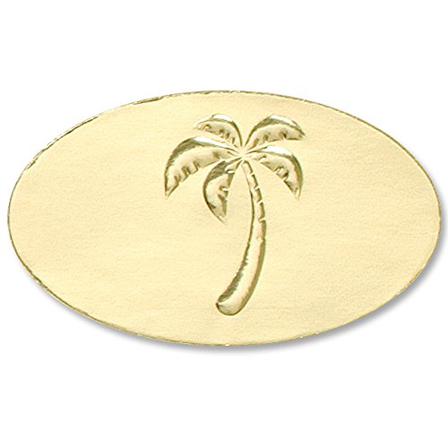 Tree Embossed Seals - Deluxe Embossed Palm Tree Gold Foil Certificate Seals, 1 1/2 Inches, Self Adhesive, 30 Count