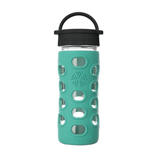 Lifefactory 12-Ounce BPA-Free Glass Water Bottle with Classic Cap and Protective Silicone Sleeve, Kale 12 Ounce Bottle Water