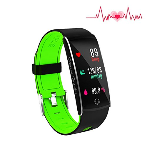 Fitness Tracker, Smart Watch 4 sports Mode, Heart Rate Monitor IP67 Waterproof Activity Tracker, Sleep & Blood Pressure Oxygen Monitor, Calorie/Step Counter Smart Wristband for IOS Android by Huangchao Inc