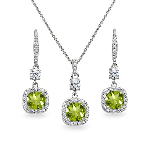 (Sterling Silver Peridot Cushion-Cut Halo Dangle Leverback Earrings & Pendant Necklace Set)