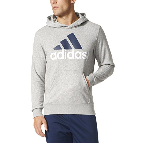 adidas Men's Athletics Essential Linear Logo Pull Over Hoodie, Medium Grey Heather/Black, Medium