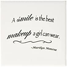 3dRose cst_163983_3 A Smile is the Best Makeup a Girl Can Wear, Marilyn Monroe Quote Ceramic Tile Coaster (Set of 4)