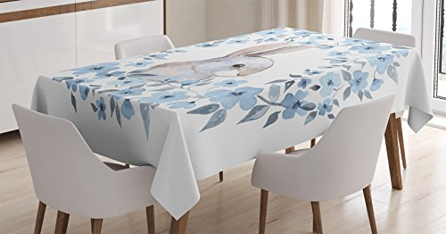 Ambesonne Watercolor Flower Decor Tablecloth, Bunny Rabbit Portrait in Floral Wreath Illustration Country Style Decor, Rectangular Table Cover for Dining Room Kitchen, 60x90 Inch, Blue White