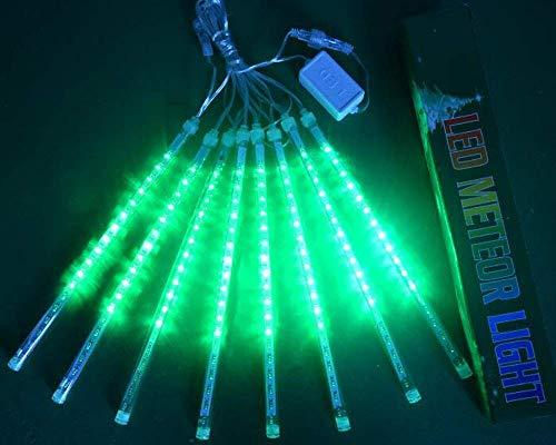 W·Z LED Meteor Shower Rain Lights,Drop/Icicle Snow Falling Raindrop 30cm 8 Tubes Waterproof Cascading Lights for Wedding Xmas Home Decor (Green)