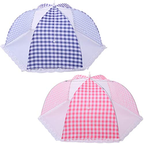 (TEERFU Large Pop-Up Mesh Screen Food Cover Tents Umbrella, Pack of 2, 24.4inch Reusable and Collapsible Outdoor Picnic Food Covers Mesh, Food Cover Net Keep Out Flies, Bugs, Mosquitoes)