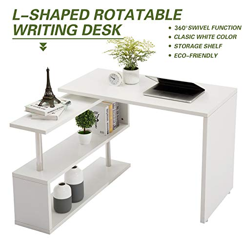 Modern Rotating Desk L-Shaped PC Table Swivel Corner Computer Desk Laptop Workstation W/2-Tier Large Storage Bookshelves for Home Office 40inch White