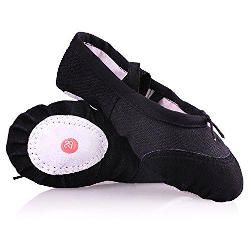 und Schwarz 40 Soft Gymnastik Mädchen Ballett für Ballett Praxis Frauen Hausschuhe Eastlion EUR22 Schuhe Schuhe Tanz Wohnungen Canvas in Tanzen flache p66wqAR