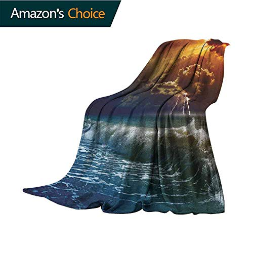 (Nature Picnic Blanket,Thunderstorm Rays Over The Ocean Waves Wild Forces Burnt Fire in The Air Print Microfiber All Season Blanket for Bed or Couch Multicolor,30