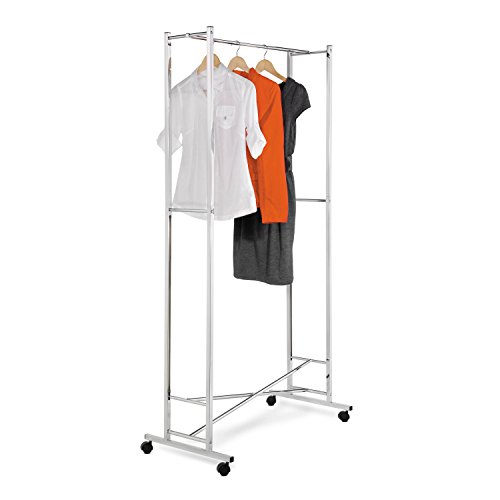 (Honey-Can-Do GAR-01268 Deluxe Collapsible Garment Rack on Locking Casters, Chrome Finish)