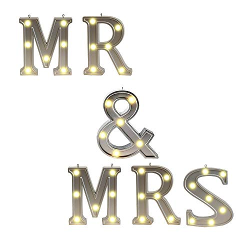 Silver Marquee Letter,Battery Powered Lighted Letter Words and Signs for Home Bedroom Baby Nursery Room Wedding Ceremony Table Wall Decor-MR&MRS ()