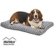 MidWest Homes for Pets Plush Dog Bed Ombre Swirl Dog Bed & Cat Bed Gray 35L x 23W x 2H Inches for Med. / Large Dog Breeds