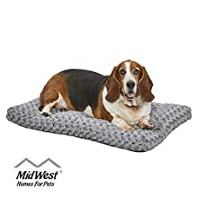 Plush Dog Bed | Ombre Swirl Dog Bed & Cat Bed | Gray 35L x 23W x 2H Inches for Med. / Large Dog Breeds