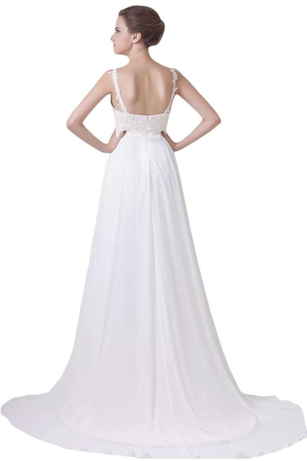 Sunvary 2014 New Beach Garden Wedding Dresses Spaghetti Chiffon A-line Evening Gowns