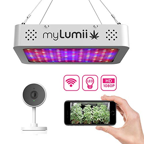 myLumii Smart WiFi Grow Kit, 1200W Full Spectrum LED Grow Light + 1080p HD Camera. Temperature Humidity Sensor & Timer Control by APP. Night Vision Video & Motion Detection for ()