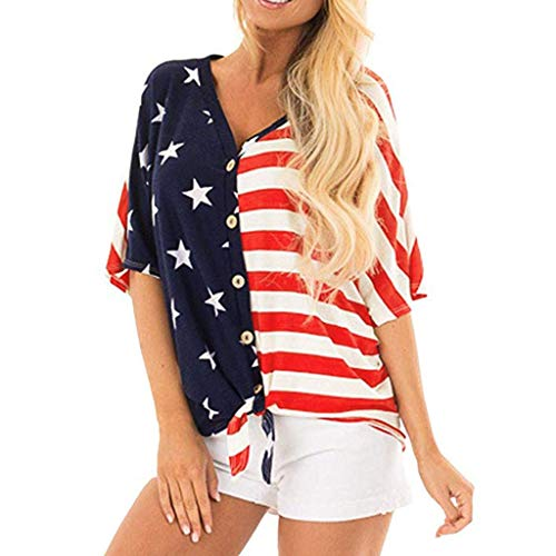 Women's Short Sleeve T Shirts, Patriotic Stripes Star American Flag Tie Knot V Neck Button Down Casual Blouse Top Blue