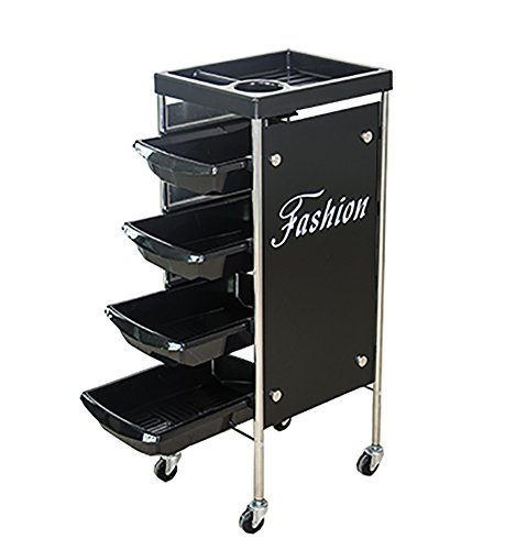 Salon Rolling Trolley Cart Spa Equipment Beauty Storage Station Black Hairdresser Barber Hair Beauty 4 Drawers Spa Cart by SalonTrolley