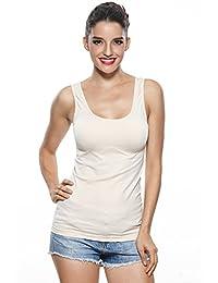 Khaya-CA Women's Seamless Scoop-Neck Shirt Stretch Workout Tank Tops