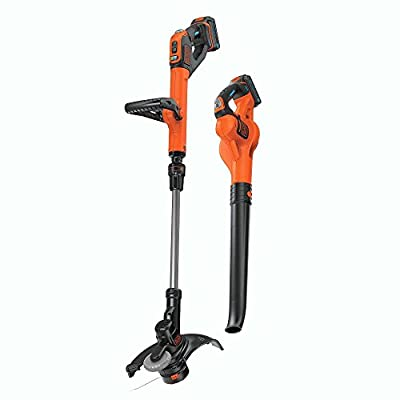 BLACK+DECKER LCC520BT20V Smartech Max Easy Feed String Trimmer and Power Boost Sweeper Combo Kit