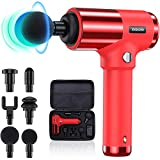 Quiet Glide Technology Massage Gun,ENEACRO Handheld Deep Tissue Percussion Massager Device for Athletes,4 Speeds and 6 Heads,Pure Wave Fascial Gun with Case(Red)