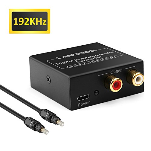 LANGREE DAC Digital SPDIF Toslink to Analog Stereo L/R Audio Converter, Digital to Analog Converter Support 192KHz/24bit with Optical Cable for XBox PS3 PS4 HD DVD Home Cinema Systems AV Amps Apple TV