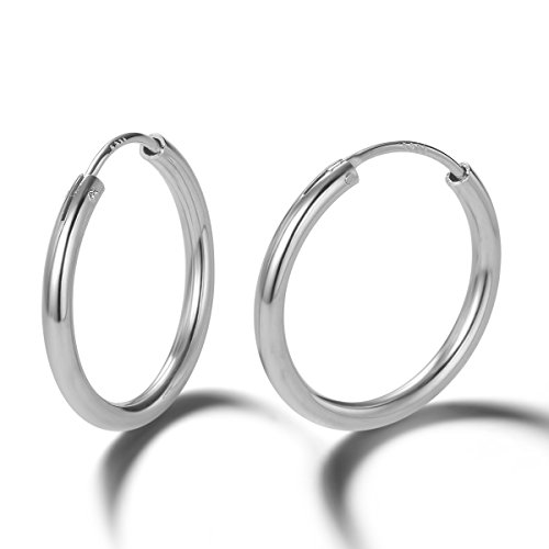 Carleen 14K White Gold Plated 925 Sterling Silver Dainty Small Endless Hoop Earrings for Women Girls (20mm)