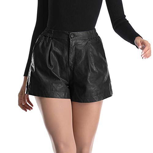 Haadid Women's Elastic Waist Wide Leg Black Leather Baggy Shorts High Waist Cool Shorts S Size (Leather Women For Shorts)