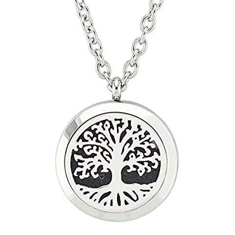 Jenia Aromatherapy Essential Oil Diffuser Necklace Stainless Steel Locket Pendant With 8 Washable Pads (Horse Tooth Necklace)