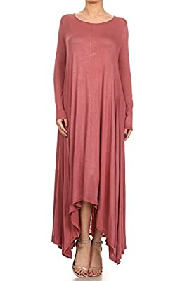 12 Ami Solid Long Sleeve Pocket Loose Maxi Dress - Made in USA