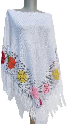 Handmade Maternity Poncho - Hand-crocheted Hawaii Flowers (Made to Order)