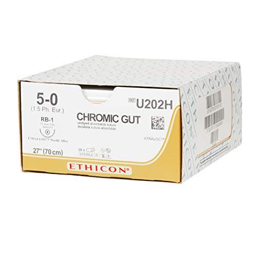 Ethicon Surgical Gut (Chromic) Suture, U202H, Natural Absorbable, RB-1 (17 mm), 1/2 Circle Needle, Size 5-0, 27