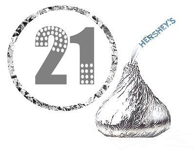 Cakesupplyshop Item#546y - 216 Twenty First (21st) Birthday Party Favor Hershey's Kisses Stickers / Labels