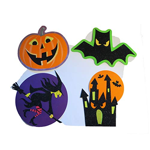 Halloween Haloween Decoration 12 Cutouts Cut Outs 3 Pack X 4 Piece Glitter Set Party Decor Cheap: Ghost Jack-o-lantern Haunted House Spider Pumpkin, Witch, Bat and Spook House -