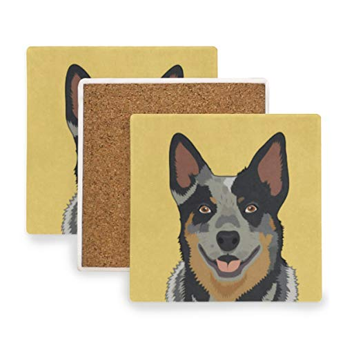 Happy Dog Coasters, Prevent Furniture from Dirty and Scratched, Square Drink Coasters Set Suitable for Kinds of Mugs and Cups, Living Room Decorations Gift Set of 2